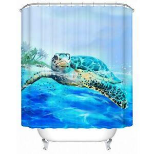 Beach Turtle Sea Ocean Animal Modern Bathroom Waterproof Bath Shower Curtain