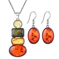 Fashion Women's Silver Plated Amber Party Necklace Earrings Jewelry Sets Gift