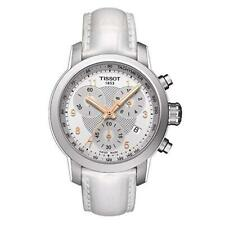 NWT Tissot T055.217.16.032.01 Womens' PRS 200 White Leather Chronograph Watch