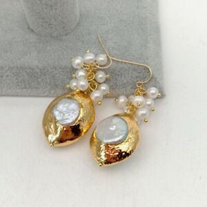 Classic White Pearl With 21x16mm Keshi Pearl Pendant Gold plated Hook Earrings