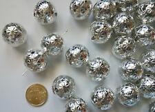 e7a4a0962208 Perlas bola filigrana flor 21 mm X 54 UNIDADES baño plata gigantes abalorios