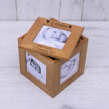 Marco De Fotos De Madera De Roble Personalizado Cubo Recuerdo Memoria Caja Abuela Mamá Papá