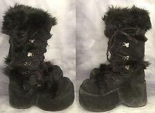 Black Gothic Monster Fur Trim Suede Look Platform Boots UK 4 Goth Boho