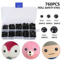 760x Black Safety Eyes Noses for DIY Bear Soft Toy Animal Dolls Making Plastic