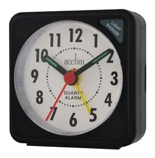 Acctim Ingot Quartz Travel/Mini Alarm Clock Snooze/Light Analogue Face Black