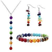 5pcs/Set 7 Chakra Lava Stone Beads Bracelet Earrings Yoga Reiki Healing Necklace