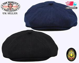 Baker Boy Hat 8 Panel Newsboy Cap Mens 100% Wool Peaky Blinders  Plain Flat Cap