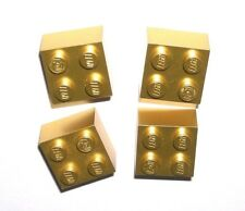 LEGO 4 Metallic Gold Bricks 2 x 2 NEW