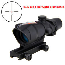 New Acog Style 4X32 Real Red Fiber Source Crosshair Illuminated Hunting Scope