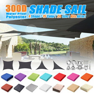 Waterproof Sun Shade Sail Rectangle/Triangle Patio Canopy Cover UV Block  🔥 K