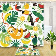 Sloth banana leaves cartoon Waterproof Fabric Shower Curtain Hooks Bathroom Mat