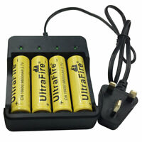 4X 18650 Batteries 3.7V 9800mAh Li-ion Rechargeable Battery &18650 EU UK Charger