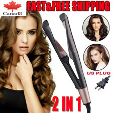 2 In1 Curling Iron Hair Straightener Salon Curler PRO Curling Hair Style US Plug
