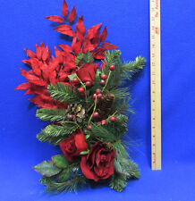 Artificial Floral Decor Red Leaves Roses Pine Boughs Cones Berries Lot of 3