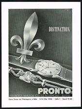 1940s Vintage 1946 Pronto Swiss Watch Co Mid Century Fleur de Lis Art Print AD