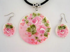 Flowers Pendant Necklace Earrings Set Mother Of Pearl Shell Hand Painted