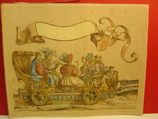 18th? or 19th? Century Hand Colored Horn Player Bandwagon Chain Laid Paper Print