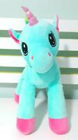 Aqua Unicorn Plush Toy with Rainbow Hair 25cm Tall!