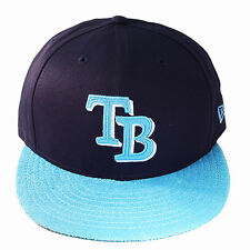 New Era MLB Tampa Baie Rayons Casquette Snapback Bleu Marine Polaire 2 Tons