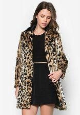 TOPSHOP UK SIZE 8 PETITE FAUX FUR COAT LEOPARD ANIMAL PRINT JACKET WOMENS LADIES