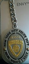 New York City Police NYPD key chain Oval Metal Spinner Keychain Pewter & Gold