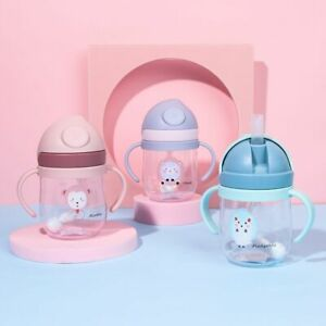 Cartoon Portable Baby Feeding Cup Water Cup Straw Drinkware Drinking Bottle