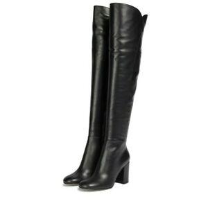 New Women's Solid Color Brooch Heel Side Zipper Pointed Toe Knee Stretch Boots