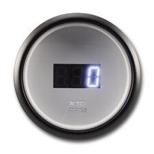52 mm Digital Tachometer Gauge Waterproof White Face Black Rim Blue