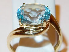 4.5ct Sky Blue Topaz twist solitaire in gold overlay Sterling Silver, Size M.