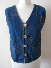 Women's Blue Flower Denim Waistcoat Vest by Nice Fashion  Size 10/12
