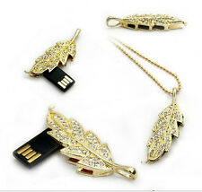 Diamante Gold Leaf Shape 16Gb Novelty USB Flash Drive Memory Stick Gift Present
