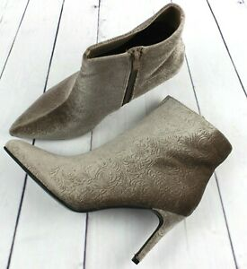 Women Taupe Ankle Boots Pointed Toe Stilettos Heel Zip Up Party Shoes Booties
