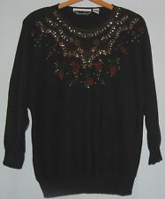 Beaded Christmas Holiday Pullover Sweater Black Red Gold Green Floral L Cotton
