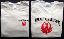 T-shirt Ruger fire arms vintage logo 100% cotton natural size medium