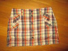 c6c06293c6884d Ladies J. Crew Blue Green Tan Plaid Button Front Skirt Size 6
