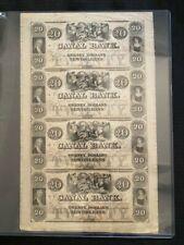 $20 1800's Canal Bank Louisiana, New Orleans UNCUT SHEET
