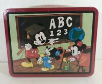 Sealed Vintage 1997 Disney Mickey Mouse Lunch Box Metal Tin Mickey's School Days