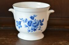 CROWN STAFFORDSHIRE Lovely White and Blue Plant Pot Planter - 10cm Tall