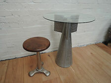 AVIATOR AIRPLANE TAIL STYLE HALL CONSOLE / LAMP TABLES ALUMINIUM & 60CM GLASS