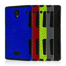 for Sharp Aquos Crystal Dual Layer Silicone Soft Flexible Skin Mesh Case Cover,