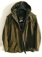 Mens Barbour Durham Hooded wax jacket Green coat 40 in size Medium / Large M/L 3