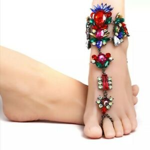 Women Rhinestone, Barefoot Vacation Sandals Foot Jewelry Anklet Bracelet Ankle