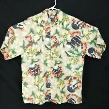 Tommy Bahama Mens Shirt Hawaiian Medium Rayon Blend Floral Ukulele Lei