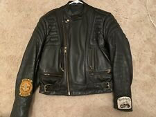 Vintage BERMAN'S Black Leather Motorcycle Racing Jacket Harley Davidson 40 Polic