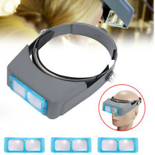 1Pc 4 Lens Magnifier Optivisor Head Band Loupe For Repair Watch Home Office US