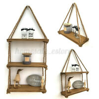 Wooden Hanging Shelf Swing Floating Shelves Rope Wall Display Rack Hom US