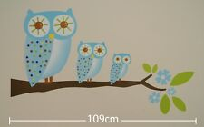 Nursery Childrens Kids Boys Blue Owls Flowers Trees Wall Stickers Decals Bedroom