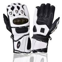 Leather Gloves Motorcycle Motorbike Racing Carbon Knuckle White Winter