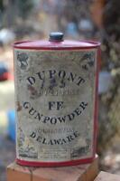 Dupont Superfine FF Gunpowder Old Can Tin Black Powder Indian Delaware 1924