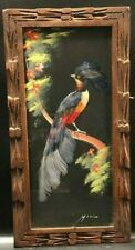 Vintage Tropical Bird Collage Picture Made W/ Feathers Paint Hand Carved Frame 2